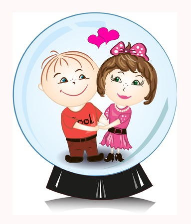 vector illustration - man and woman in snow globe Vector