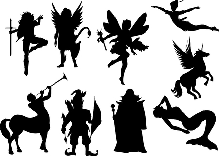 vector fairytale silhouettes Illustration