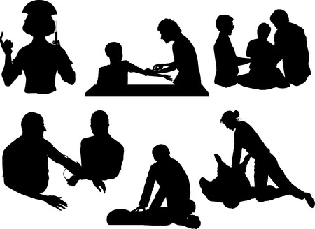 Vector silhouettes of doctors and patients Vector