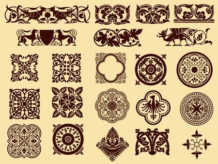 art deco design: vector ornament silhouettes Illustration