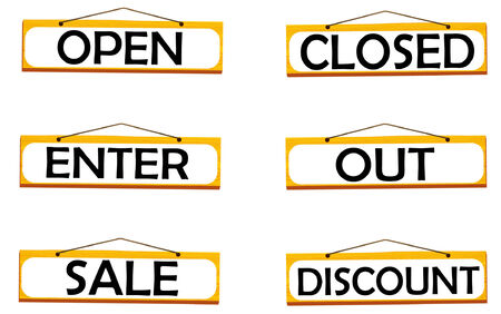 vector set wooden plaques with the words: open, closed, sale, discount,enter,out Vector