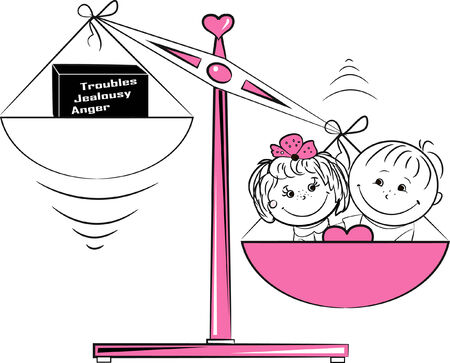 rich girl: Vector illustration, loving man and a woman sitting on the scales