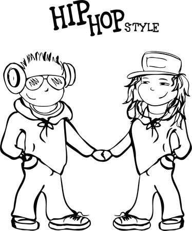 persona: Hip hop boy and girl holding hands, vector illustration