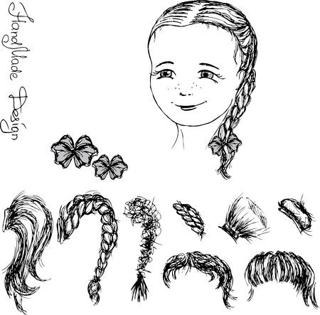 visage peint: visage et coiffure fille peinte � la main, illustration vectorielle