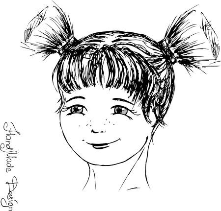 visage peint: fille visage peint � la main, illustration vectorielle