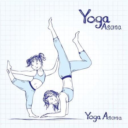 joga: girl and woman doing yoga poses,  vector illustration