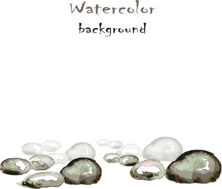 sedimentary: Watercolor background with stones on white, vector
