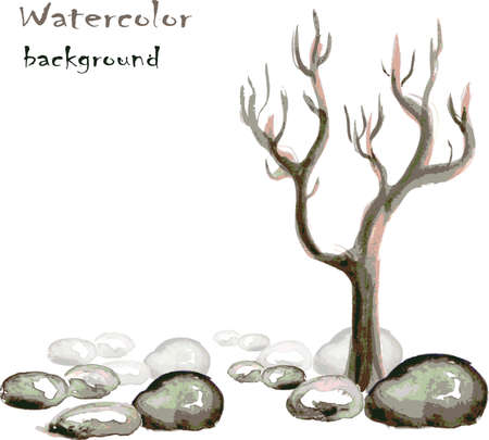 cool down: Watercolor background with stones and tree on white, vector