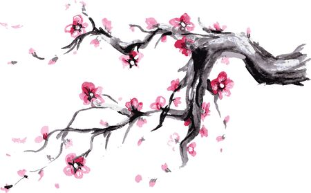 Watercolor Spring blossoms background - japanese symbol, vector
