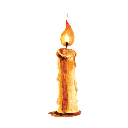 Burning candle in a watercolor style, vector illustration