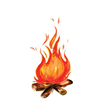fire painted in watercolor style, vector illustration Vettoriali