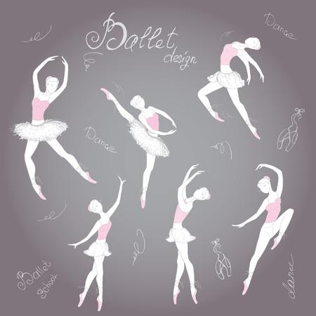zapatillas ballet: Establecer los bailarines de ballet, fondo dibujado a mano, ilustración vectorial