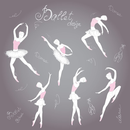 ballet slippers: Set ballet dancers, hand drawn background, vector illustration