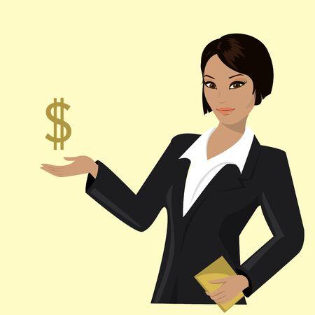 femme dessin: femme d'affaires asiatique en montrant l'évolution des affaires, vecteur illustration de bande dessinée Illustration