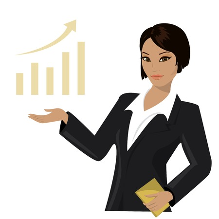 asian business woman pointing to  business trends,cartoon vector illustration Vector