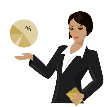 asian business woman: asian business woman pointing to  business trends,cartoon vector illustration Illustration