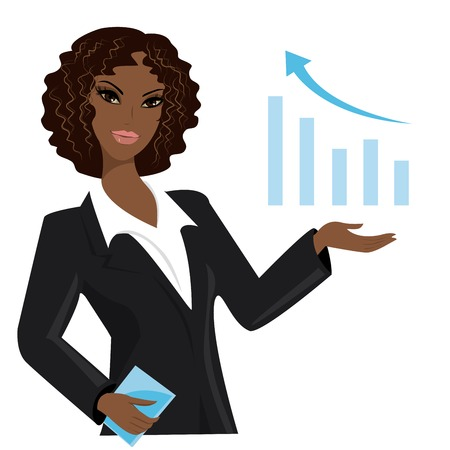 african american business woman pointing to  business trends,cartoon vector illustration Vector