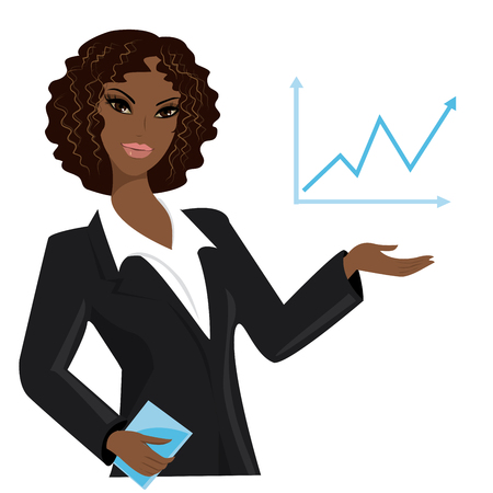 business trends: african american business woman pointing to  business trends,cartoon vector illustration Illustration