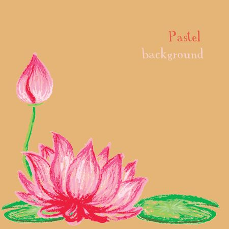 pastel drawing: Vector illustration handmade drawing pastel chalks lotus flower background