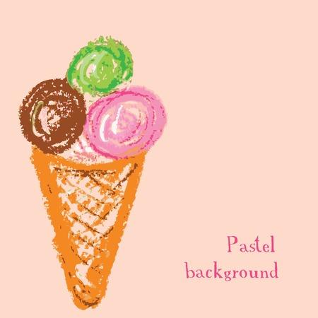 chalks: Vector illustration handmade drawing pastel chalks ice cream background Illustration