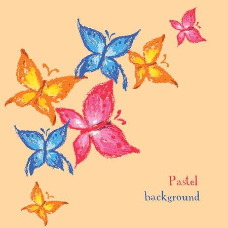 colores pastel: Ilustración del vector en colores pastel dibujo hecho a mano tizas fondo mariposa Vectores