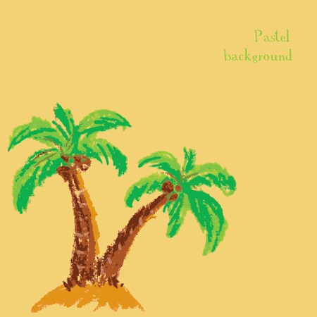 chalks: Vector illustration handmade drawing pastel chalks palm tree background