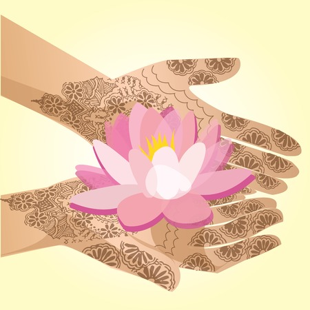 mehandi: Hands decorated with henna indian woman holding a lotus flower Illustration
