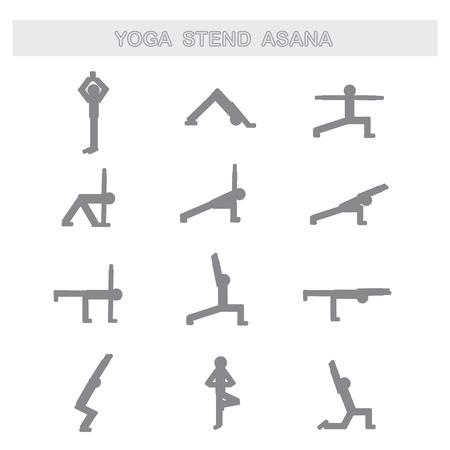 asanas: Set of icons. Poses yoga asanas.