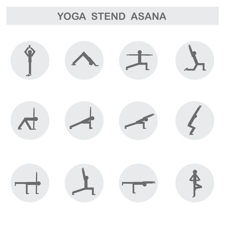 asanas: Set of icons. Poses yoga asanas. Vector. Illustration
