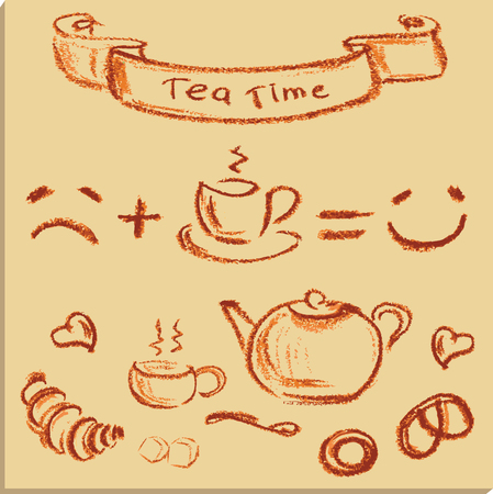 creamer: tea time , beautiful hand drawn illustration, Vector Illustration