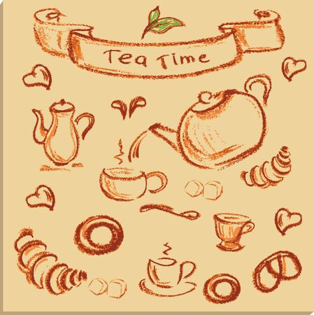 afternoon fancy cake: tea time , beautiful hand drawn illustration, Vector Illustration