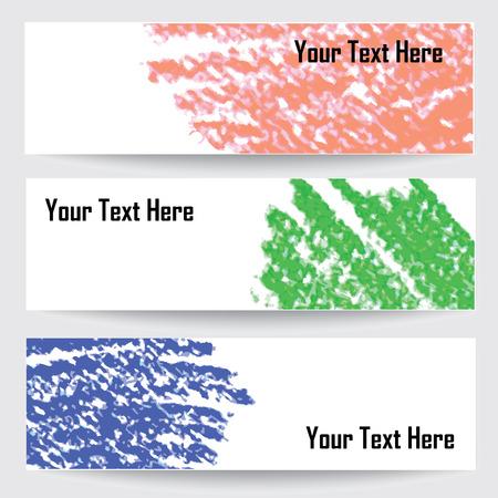 chalks: pastel chalks design banners, vector