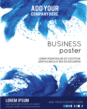 Vector Poster Template with Watercolor Paint Splash. Abstract Aquarelle Background for Business Flyers, Posters and Placards.