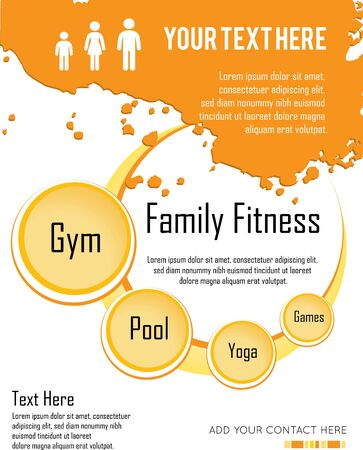 family vacations: family fitness  infographic design, vector illustration Illustration