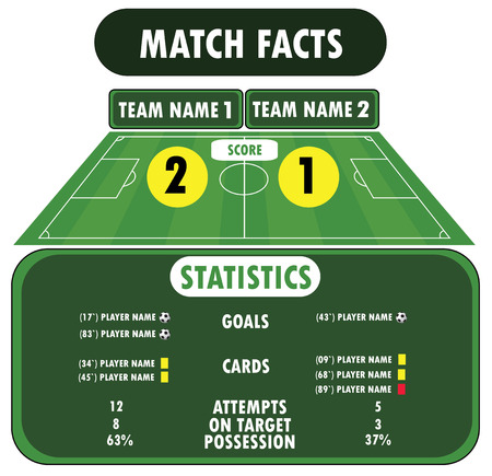 crossbars: Soccer match infographic elements. Flat design Illustration