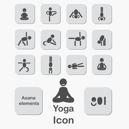 swadhisthana: Set of icons. Poses yoga asanas.Yoga elements. Vector.
