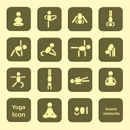 anahata: Set of icons. Poses yoga asanas. Vector. Illustration