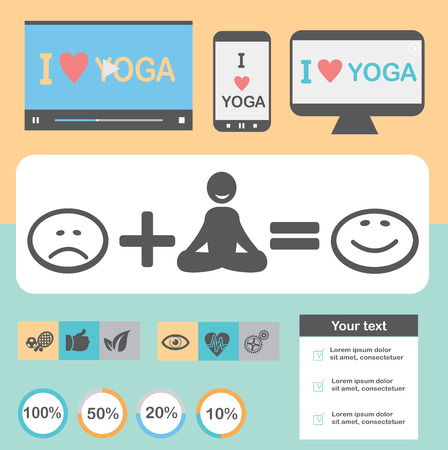 thai herb: Yoga Healthy lifestyle infographic, vector