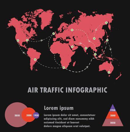 air traffic: El tr�fico a�reo mundial y en infograf�a, vector del tr�fico a�reo Vectores