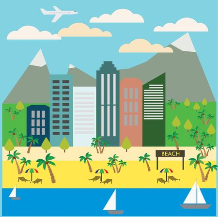 see saw: Resort Town Landscape. Mountains, Houses, Trees, Beach, Ocean. Tourism and Recreation Concept. Flat design