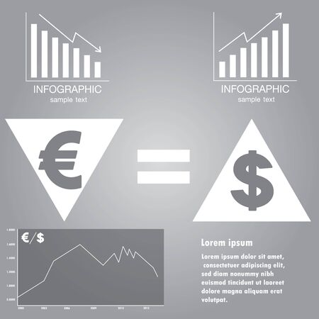 exchange rate: Infographics exchange rate of euro and dollar, vector