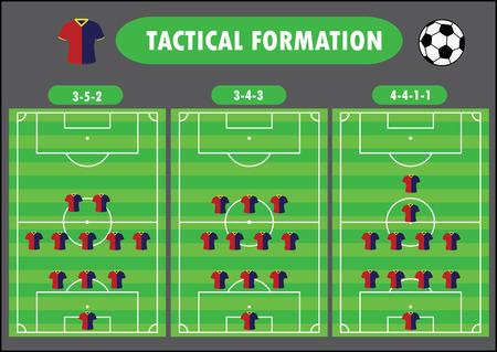 football coach: Soccer team formation, vector illustration