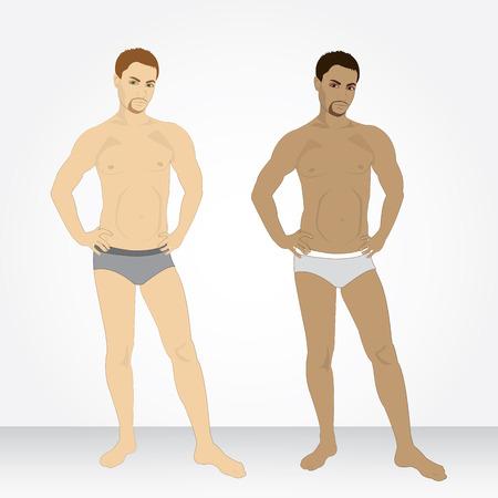 slip homme: Un jeune homme en sous-v�tements en pleine croissance Illustration