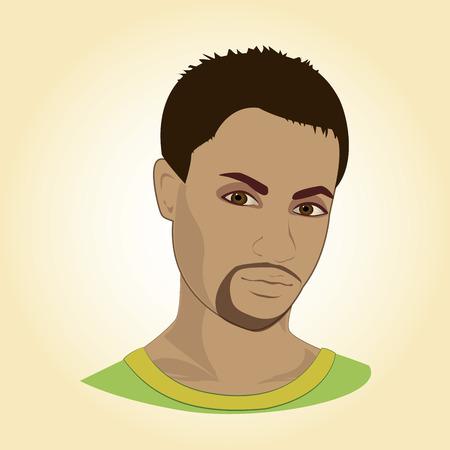 Visage d'un jeune homme, illustration vectorielle.
