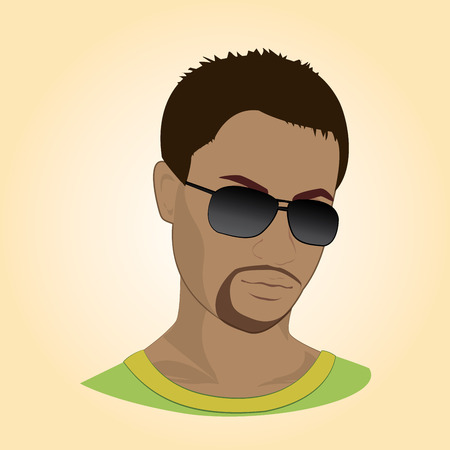 round collar: Vector illustration of a man with glasses.