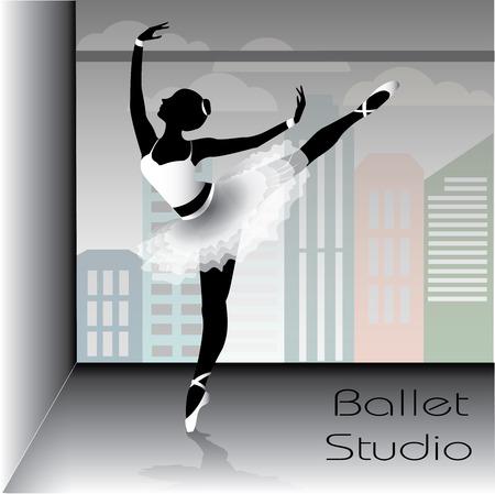Ballet dancer silhouette, vector illustration. Illustration