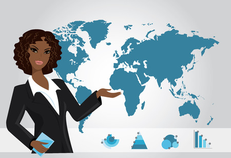 african american business woman: Business woman on background of a map and business charts, vecto