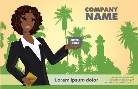 guia turistica: Mujer con una gu�a tur�stica sobre un fondo tropical, vector