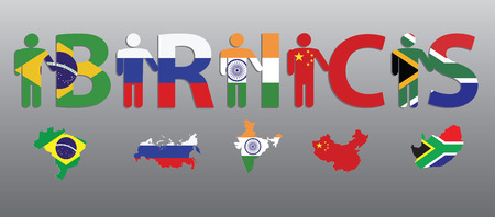 south india: BRICS. Peoples and letters in the colors of the flag and map. Brazil. Russia. India. China. South Africa.