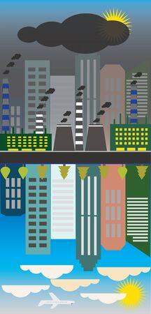 polluted: Clean and polluted city, reflection.Ecology problem concept.Vector
